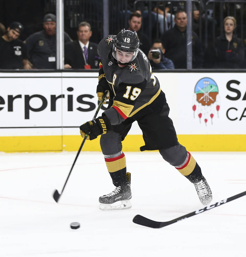 Golden Knights right wing Reilly Smith (19) shoots the puck against the Anaheim Ducks during the first period of an NHL hockey game at T-Mobile Arena in Las Vegas on Wednesday, Nov. 14, 2018. Chas ...