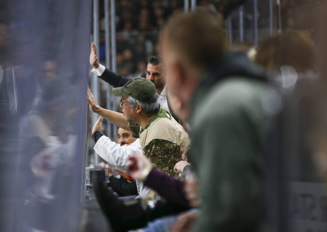 Fans react as the Golden Knights play the Anaheim Ducks during the first period of an NHL hockey game at T-Mobile Arena in Las Vegas on Wednesday, Nov. 14, 2018. Chase Stevens Las Vegas Review-Jou ...