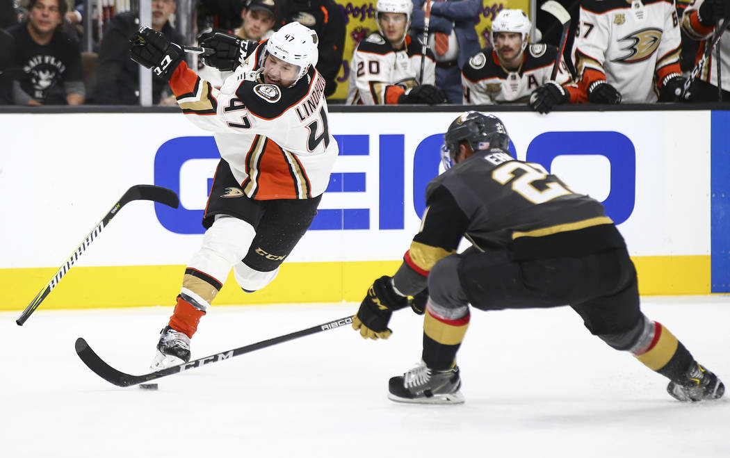 Anaheim Ducks defenseman Hampus Lindholm (47) loses control of his stick as it snaps in front of Golden Knights center Cody Eakin (21) during the second period of an NHL hockey game at T-Mobile Ar ...