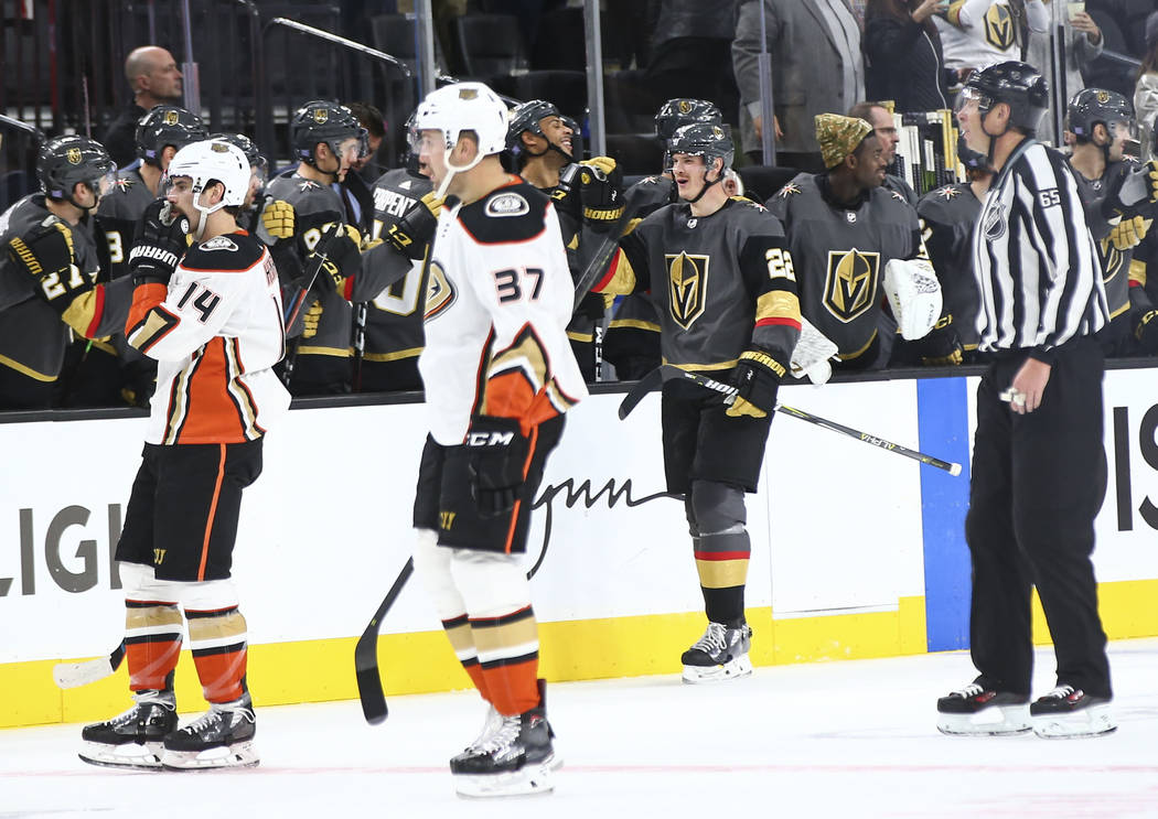 Golden Knights defenseman Nick Holden (22) celebrates his goal against the Anaheim Ducks during the second period of an NHL hockey game at T-Mobile Arena in Las Vegas on Wednesday, Nov. 14, 2018. ...