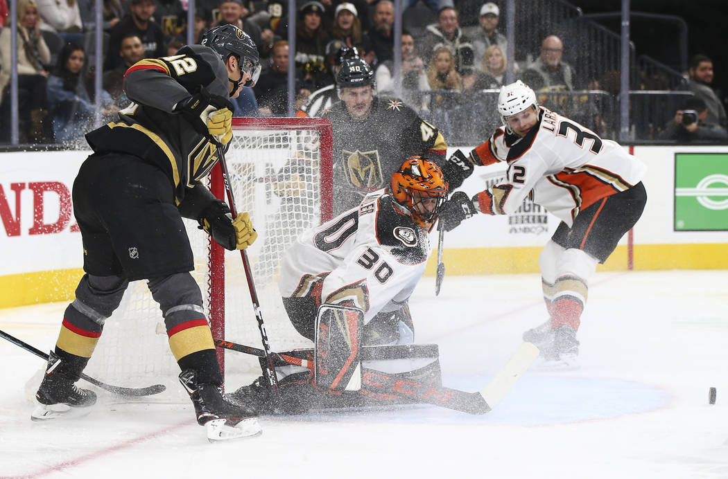 Anaheim Ducks goaltender Ryan Miller (30) defends the net seconds before a goal by Golden Knights right wing Tomas Hyka, not pictured, during the third period of an NHL hockey game at T-Mobile Are ...