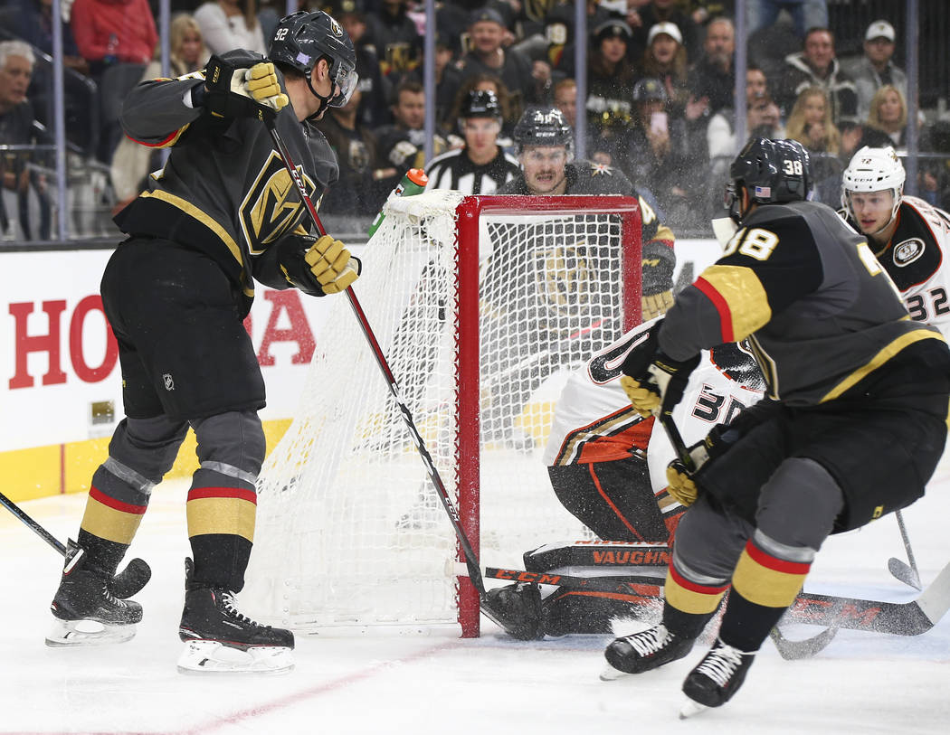 Golden Knights right wing Tomas Hyka (38) scores a goal past Anaheim Ducks goaltender Ryan Miller (30) during the third period of an NHL hockey game at T-Mobile Arena in Las Vegas on Wednesday, No ...