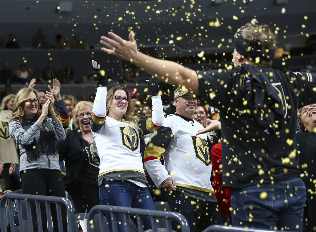 Golden Knights fans cheer during the third period of an NHL hockey game against the Anaheim Ducks at T-Mobile Arena in Las Vegas on Wednesday, Nov. 14, 2018. Chase Stevens Las Vegas Review-Journal ...