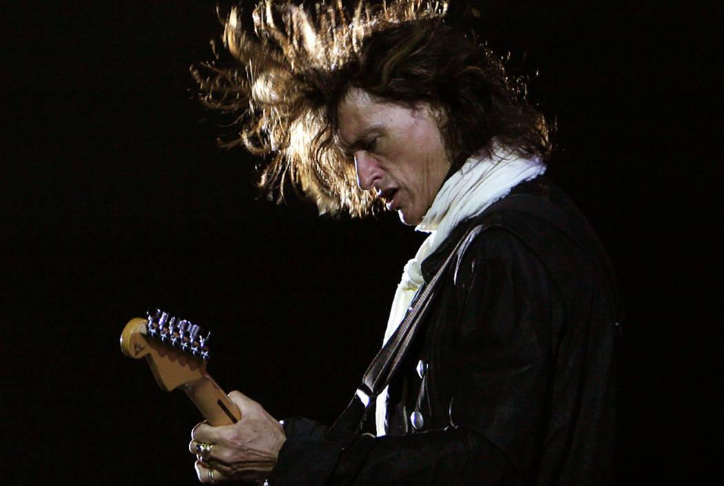 Aerosmith's guitarist Joe Perry performs during a concert in Bangalore, India, in 2007. (Aijaz Rahi/AP File)