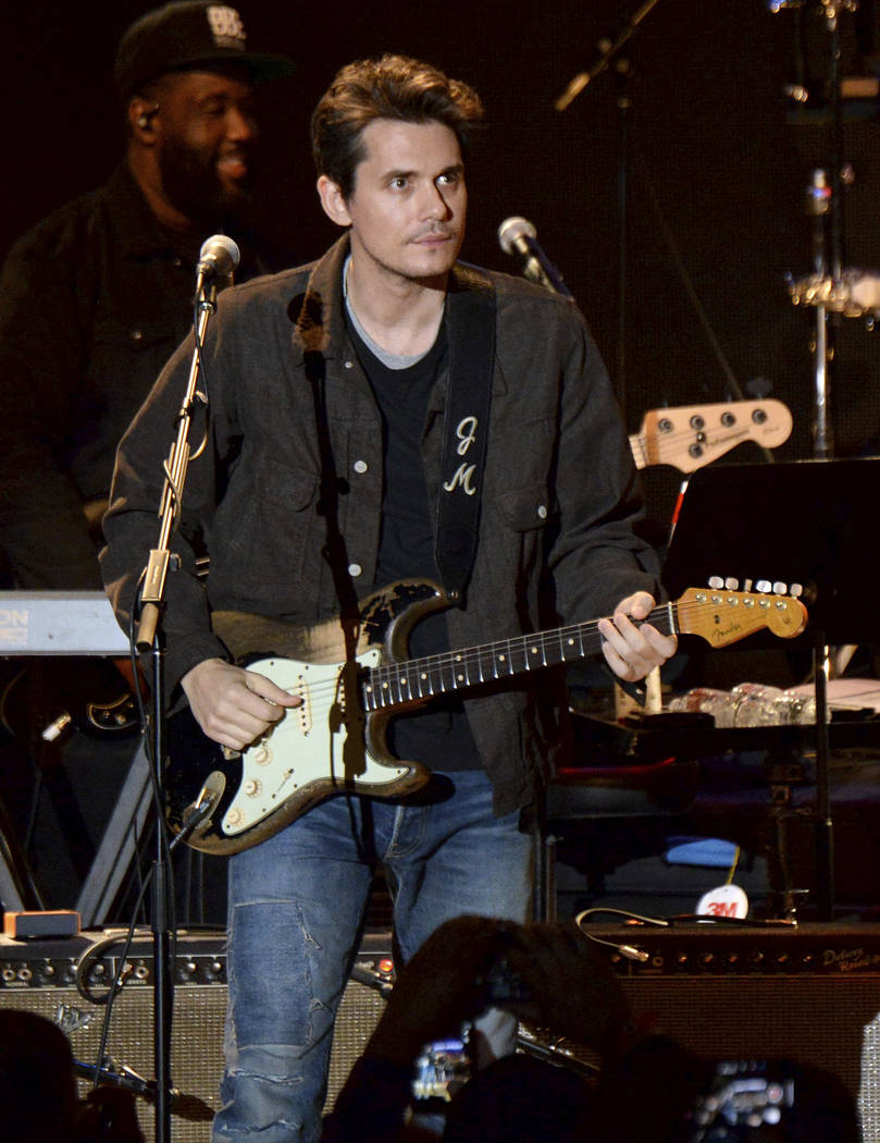 John Mayer performs during the tribute event Mac Miller: A Celebration of Life on Wednesday, Oct. 31, 2018, at the Greek Theatre in Los Angeles. (Photo by Amy Harris/Invision/AP)