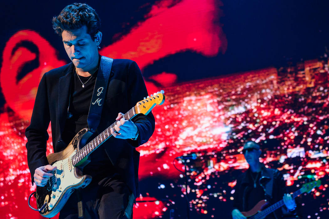 """John Mayer performs during his """"The Search for Everything Tour"""" stop at T-Mobile Arena on Saturday, April 22, 2017, in Las Vegas. (Brenton Ho/Powers Imagery for T-Mobile Arena)"""