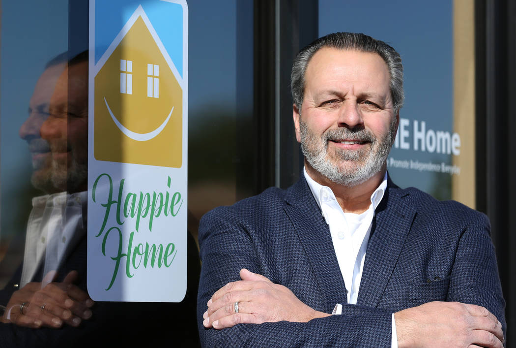 Anthony Rufo, president of HAPPIE Home, poses for a photo at his Henderson office on Wednesday, Nov. 14, 2018. Happie Home is an in-home digital companion and monitor designed for unpaid family ca ...