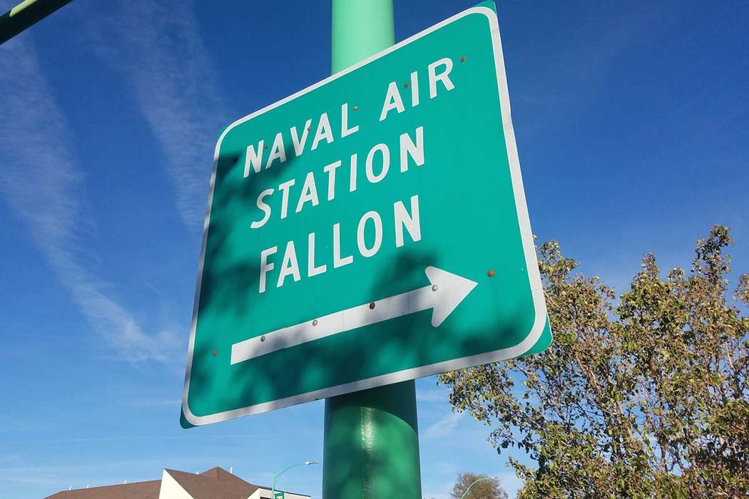 A sign points to Fallon Naval Air Station, where officials are pushing to add almost 770,000 acres to the training range 385 miles northwest of Las Vegas. (Las Vegas Review-Journal)