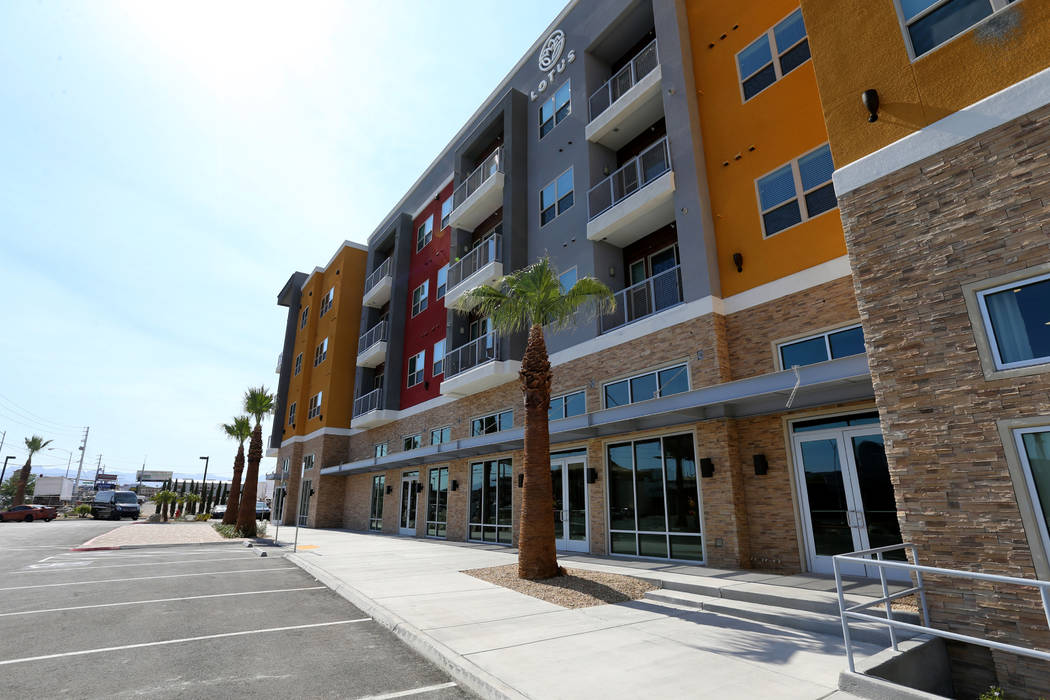 The ground floor will have retail at Lotus apartment complex on Spring Mountain Road near Valley View Boulevard Monday, May 25, 2018. K.M. Cannon Las Vegas Review-Journal @KMCannonPhoto