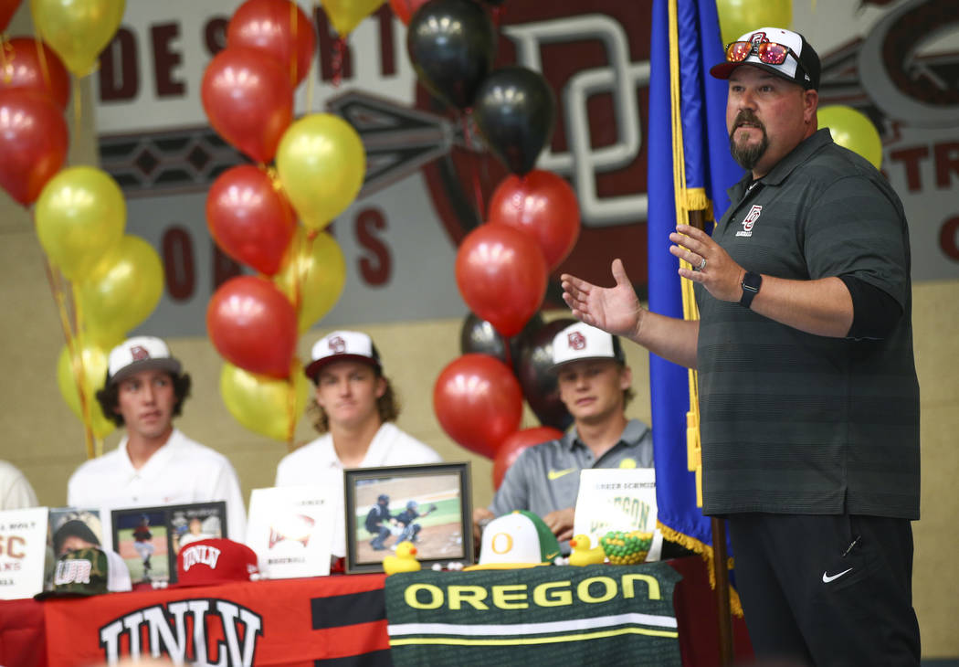 Desert Oasis baseball coach Paul Buboltz talks about the five players signing letters of intent to play at Division I schools at Desert Oasis High School in Las Vegas on Wednesday, Nov. 14, 2018. ...