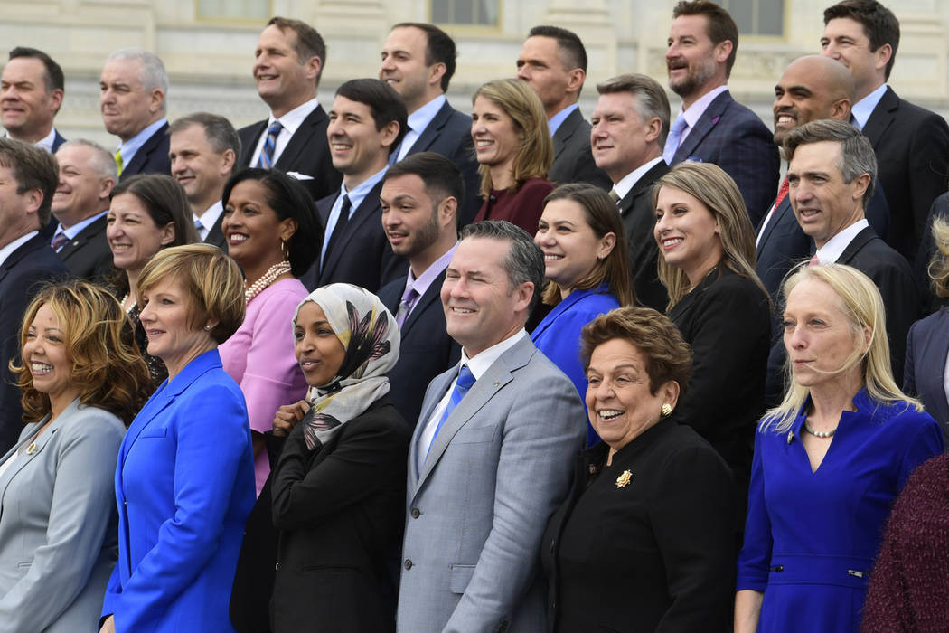 Members of the freshman class of Congress pose for a photo opportunity on Capitol Hill in Washington, Wednesday, Nov. 14, 2018. (Susan Walsh/AP)