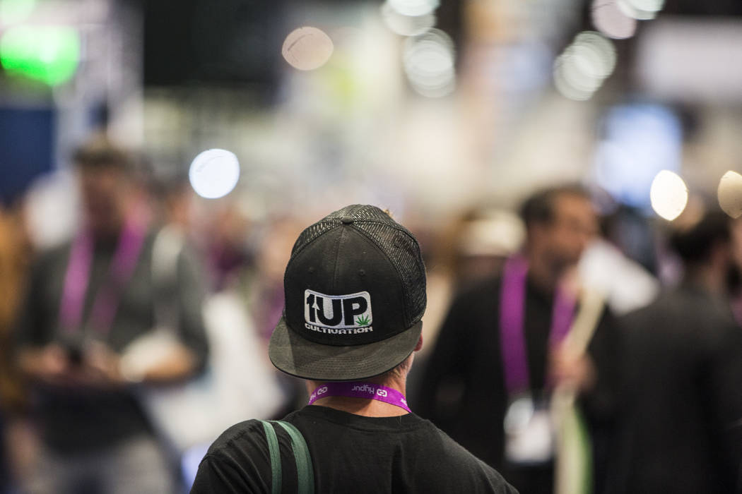 An attendee wears a hat for Up Cultivation LLC at MJBizCon on Wednesday, November 14, 2018, at the Las Vegas Convention Center, in Las Vegas. Benjamin Hager Las Vegas Review-Journal
