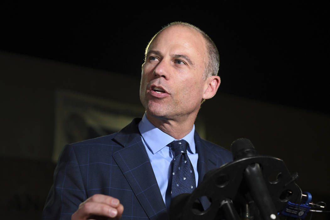 Michael Avenatti speaks to the media outside the Los Angeles Police Department Pacific Division after posting bail for a felony domestic violence charge, Wednesday, Nov. 14, 2018. (AP Photo/Michae ...