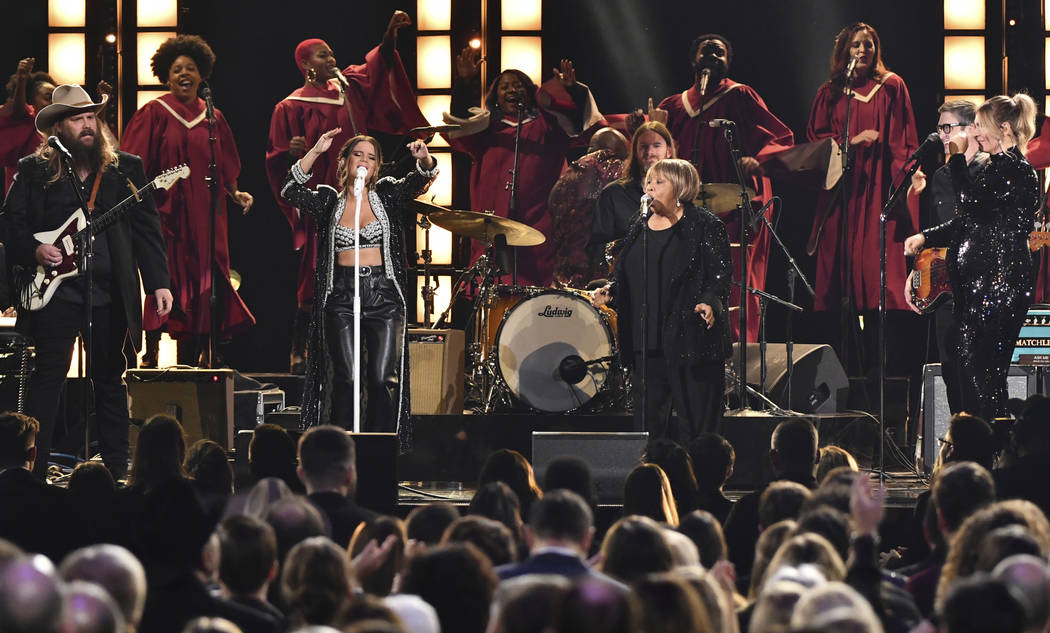 "Chris Stapleton, from left, Maren Morris, Mavis Staples and Morgane Stapleton perform ""I'll Take You There"" at the 52nd annual CMA Awards at Bridgestone Arena on Wednesday, Nov. 14, 2018 ..."