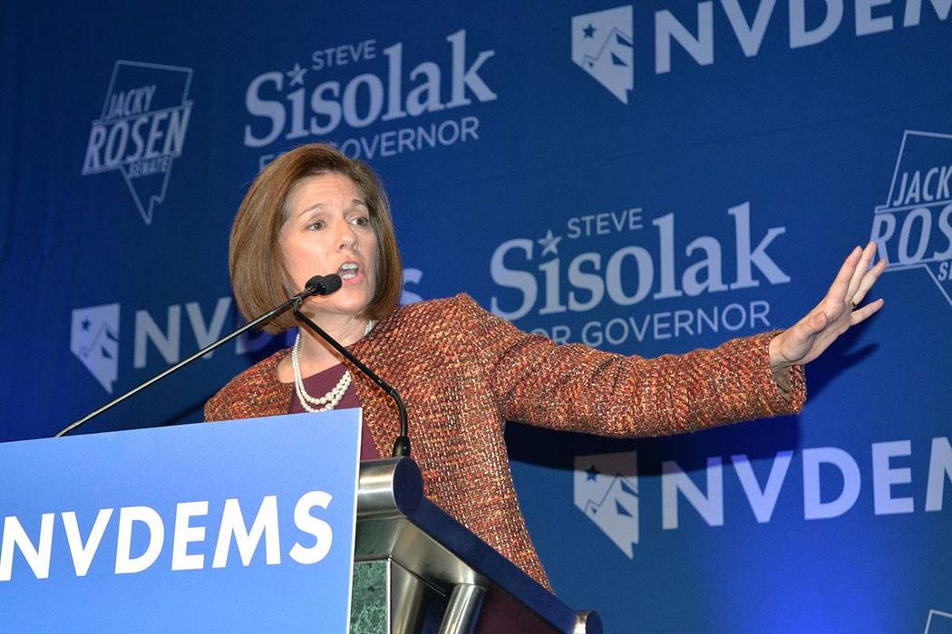 Sen. Catherine Cortez Masto, D-Nev., speaks during an election night event hosted by the Nevada Democrats at Caesars Palace in Las Vegas on Tuesday, Nov. 6, 2018. (Frank Alejandre/El Tiempo)