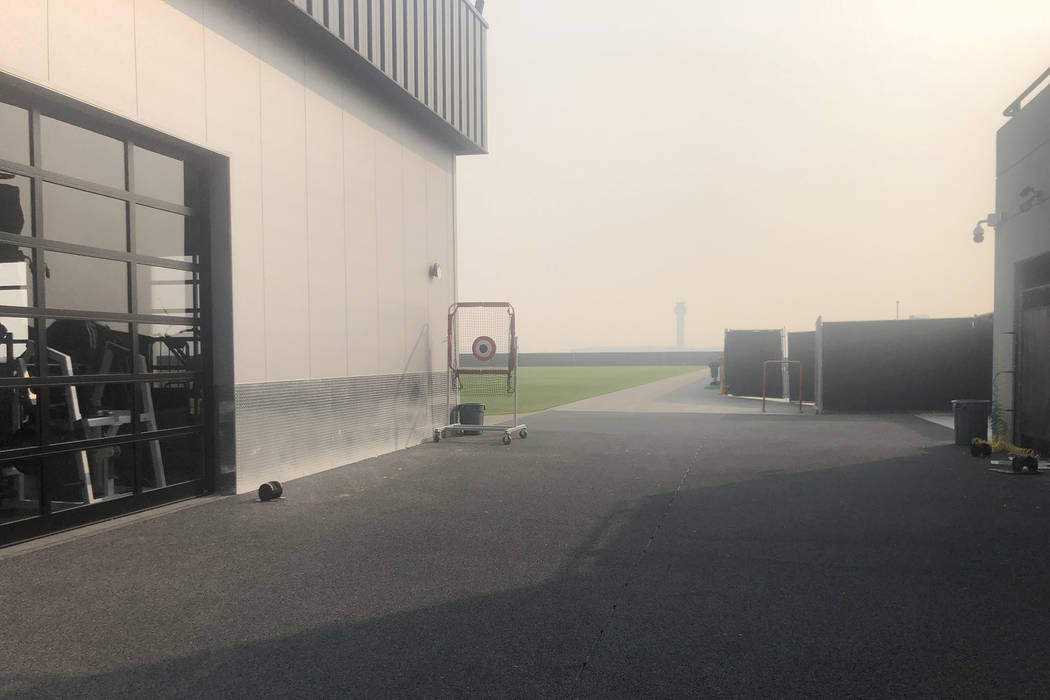 Smoke from the Camp Fire in Northern California can be seen in the air behind the Raiders practice facility in Alameda on Thursday, Nov. 15, 2018. The team held an indoor walkthrough off-site. (Mi ...