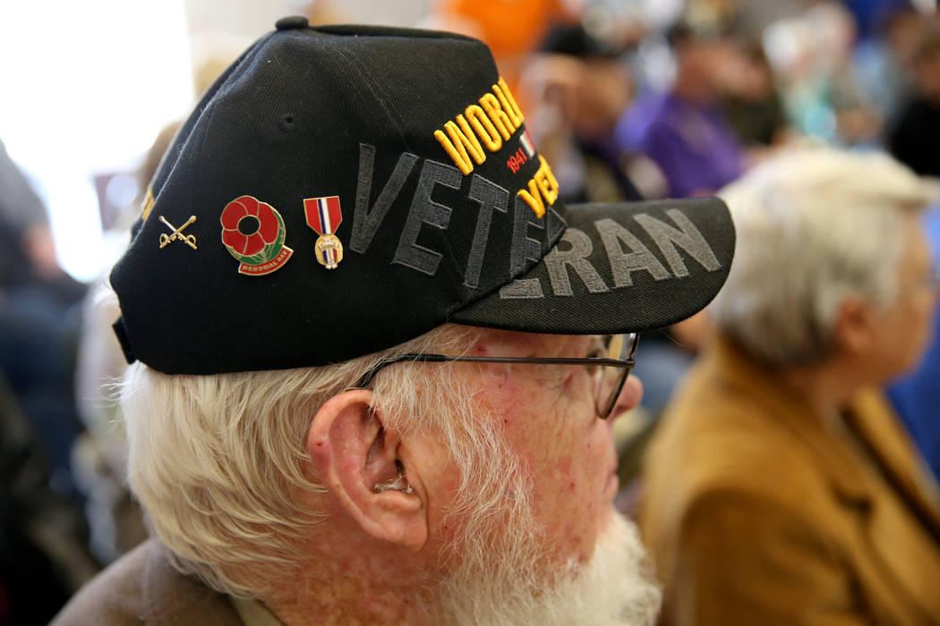 Kenneth Hill during a ceremony at the Sawyer Building in Las Vegas Thursday, Nov. 15, 2018, to honor Thomas Waters as Nevada Veteran of the Month and Charm McElree of Operation Recognition as Volu ...