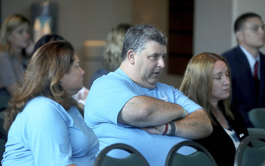 Jennifer and Tony Montalto, the parents of shooting victim Gina Montalto watch videos from the school shooting during the Marjory Stoneman Douglas High School Public Safety Commission meets Thursd ...