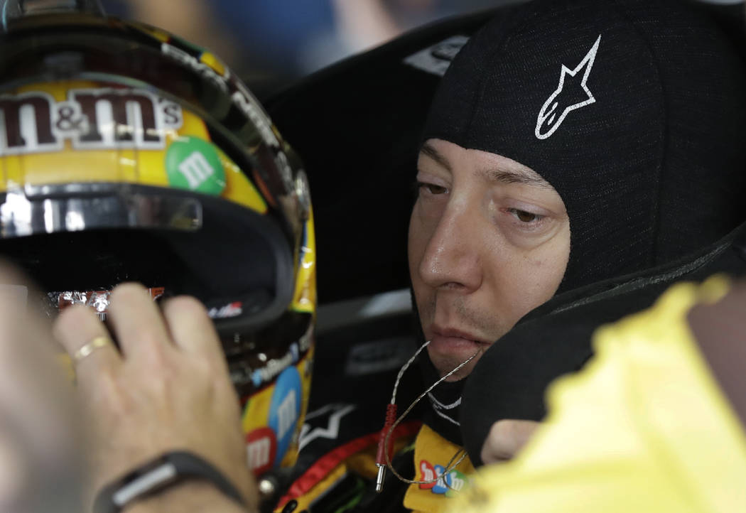 In this Sept. 28, 2018, file photo, Kyle Busch prepares for practice for the NASCAR auto racing race at Charlotte Motor Speedway in Concord, N.C. Busch is one NASCAR's four title contenders for S ...