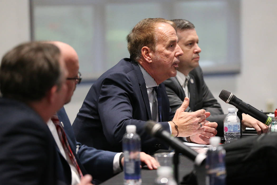 Nevada System of Higher Education's Chancellor Thom Reilly speaks during a public forum to discuss the search for a new UNLV president, at UNLV in Las Vegas, on Thursday, Nov. 15, 2018. Erik Verdu ...