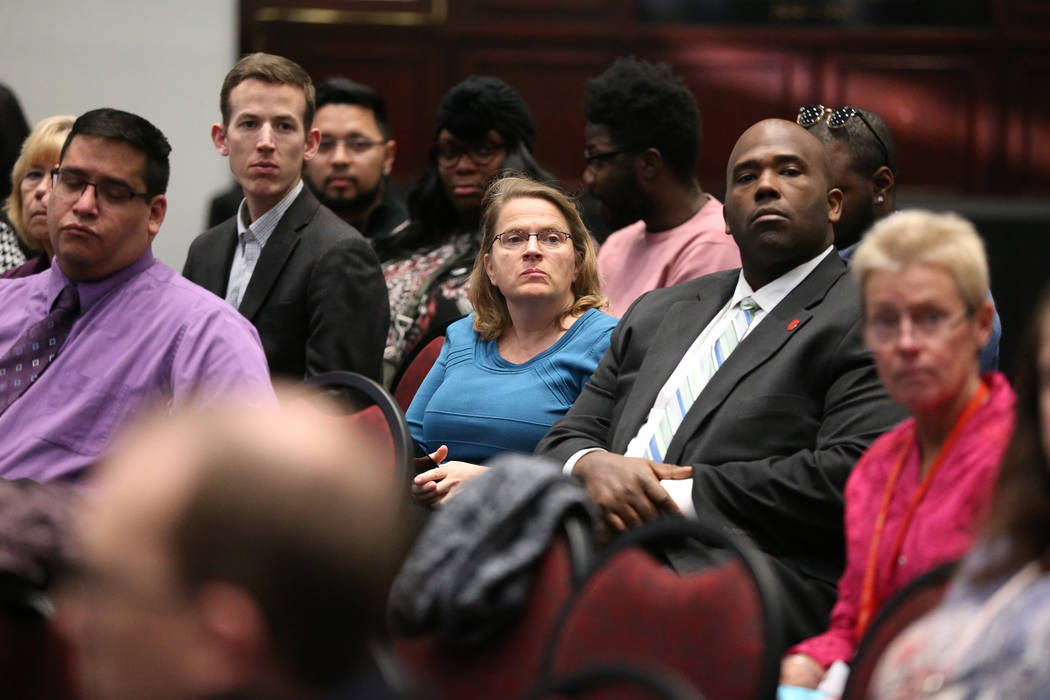 People attend a public forum with Nevada System of Higher Education officials to discuss the search for a new UNLV president, at UNLV in Las Vegas, on Thursday, Nov. 15, 2018. Erik Verduzco Las Ve ...