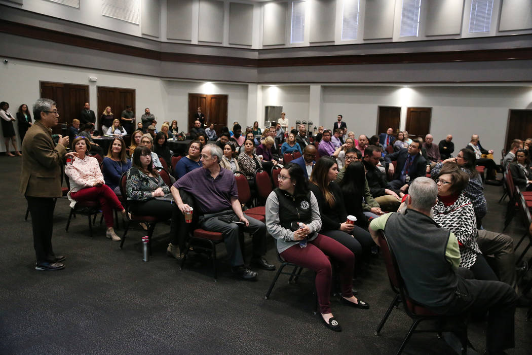 Hokwon Cho, left, associate professor of statistics in the Department of Mathematical Sciences, shares his opinion during a public forum to discuss the search for a new UNLV president, at UNLV in ...
