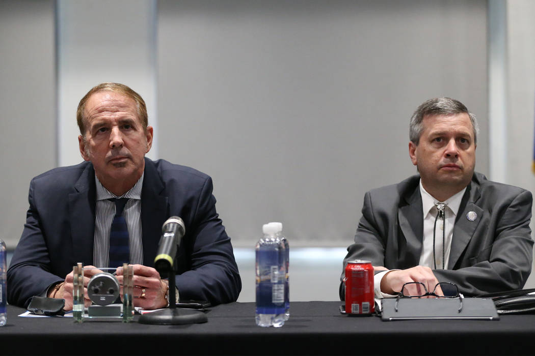 Nevada System of Higher Education's Chancellor Thom Reilly, left, and Vice Chairman Regent Jason Geddes, during a public forum to discuss the search for a new UNLV president, at UNLV in Las Vegas, ...