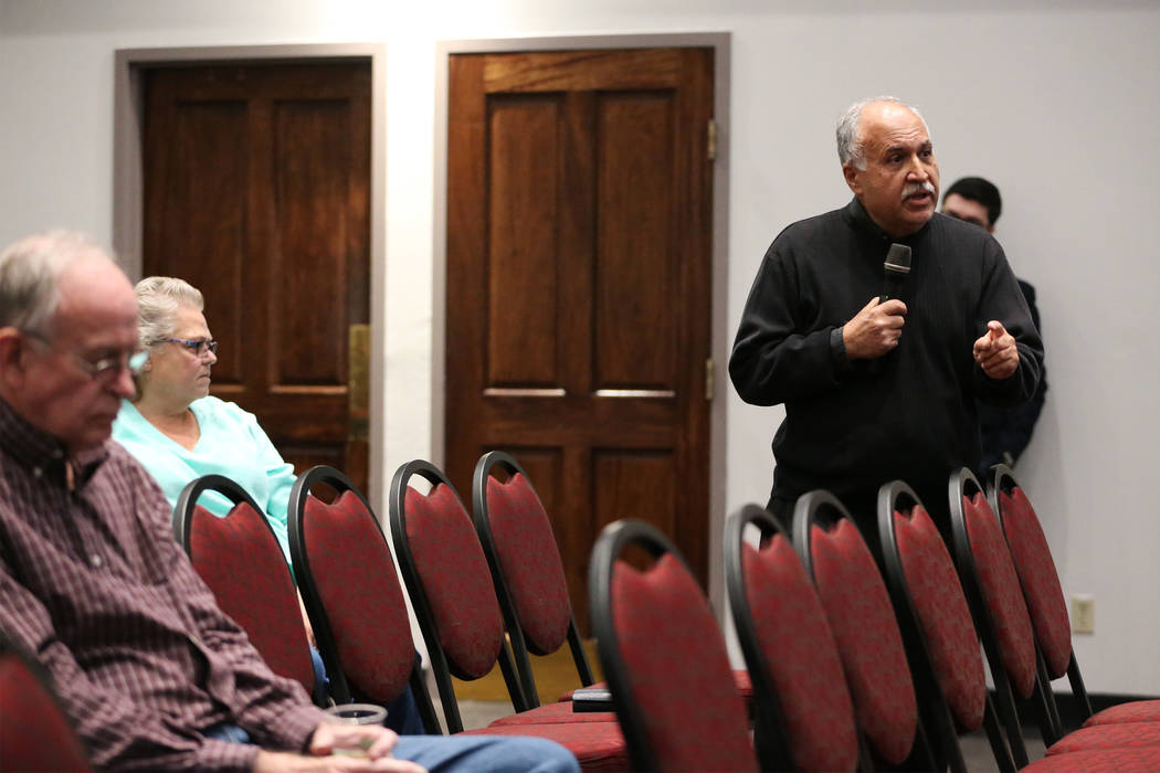Mehran Tamadonfar, UNLV professor of political science, shares his opinion during a public forum to discuss the search for a new UNLV president, at UNLV in Las Vegas, on Thursday, Nov. 15, 2018. E ...
