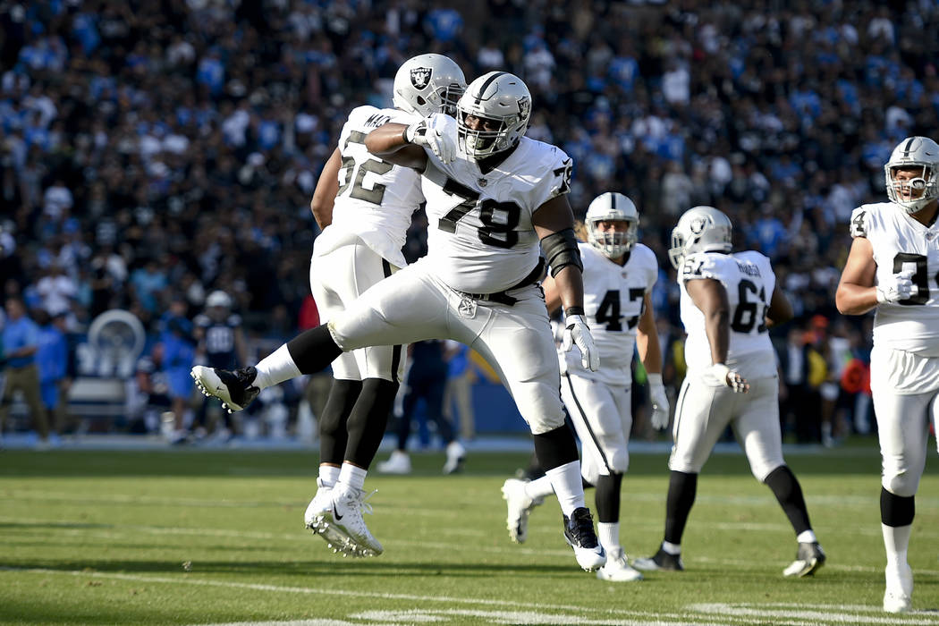 Oakland Raiders defensive tackle Justin Ellis (78) reacts after blocking a field goal attempt during the first half of an NFL football game against the Los Angeles Chargers, Sunday, Dec. 31, 2017, ...