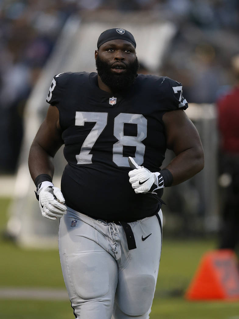Oakland Raiders defensive tackle Justin Ellis before an NFL preseason football game against the Green Bay Packers in Oakland, Calif., Friday, Aug. 24, 2018. (AP Photo/D. Ross Cameron)