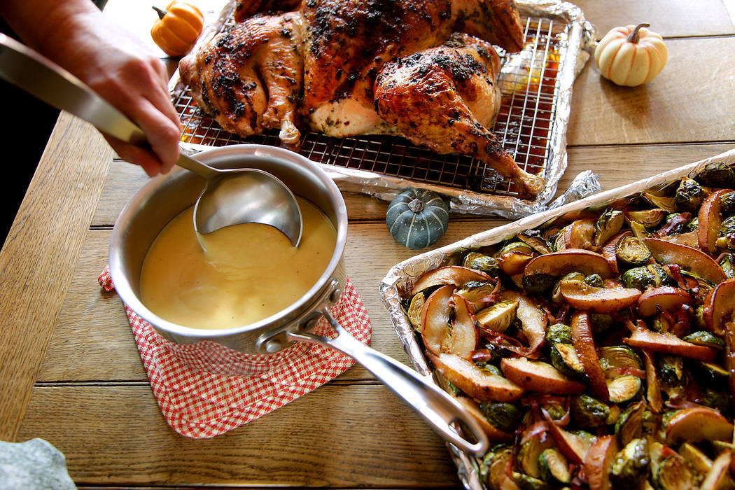 Pictured here is the gravy, with the turkey and vegetables. (Kirk McKoy / Los Angeles Times)
