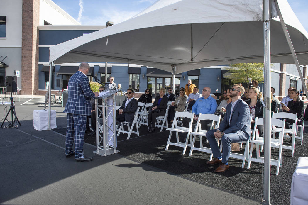 A ceremony is held to mark the sale of long-struggling Coronado Canyons retail center in Henderson, Tuesday,Nov. 13, 2018. Caroline Brehman/Las Vegas Review-Journal