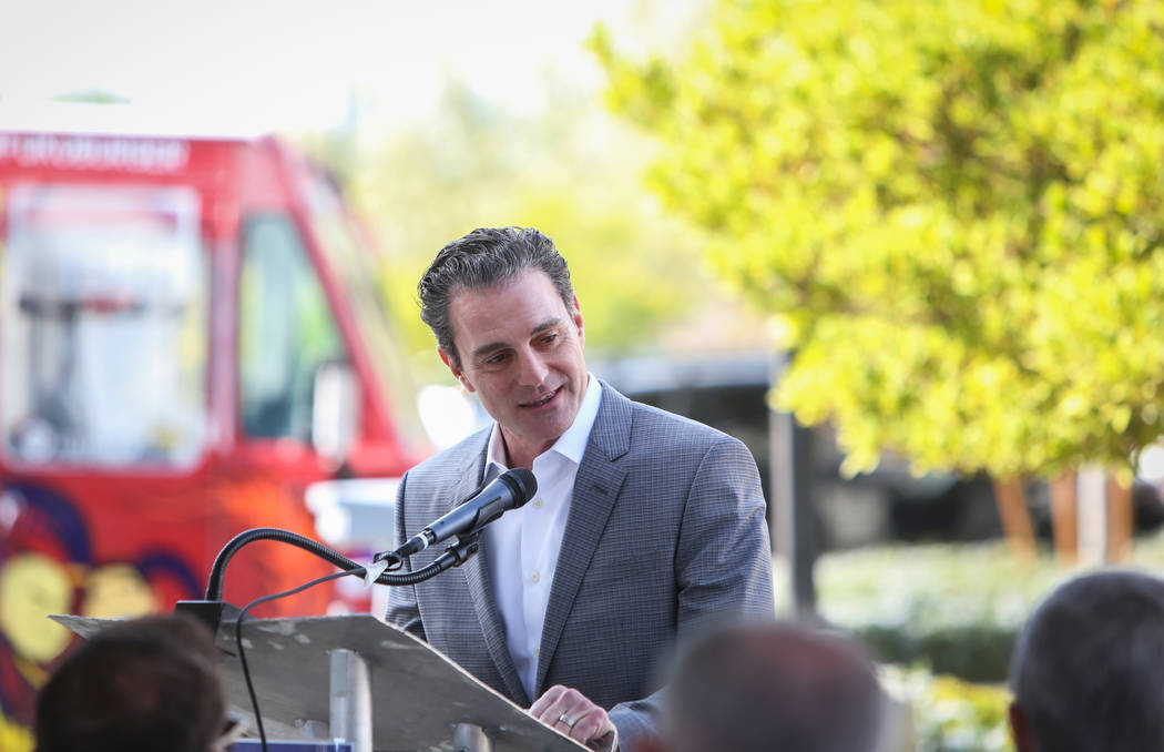 New owner Mike Nigro speaks at a ceremony to mark the sale of long-struggling Coronado Canyons retail center in Henderson, Tuesday,Nov. 13, 2018. Caroline Brehman/Las Vegas Review-Journal