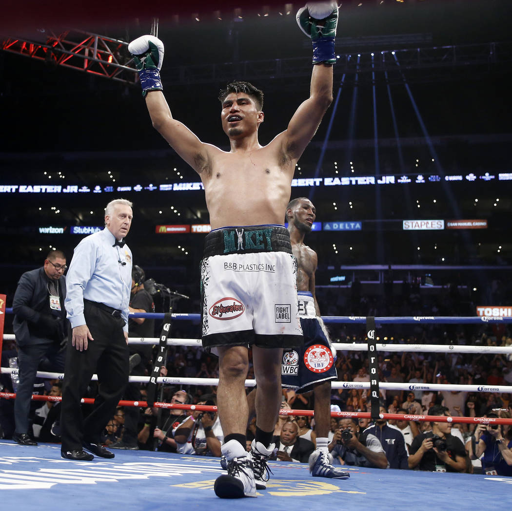 Mikey Garcia, left raises his fist after the WBC and IBF lightweight title bout against Robert Easter in Los Angeles, Saturday, July 28, 2018. Garcia won by unanimous decision. (AP Photo/Alex Gall ...