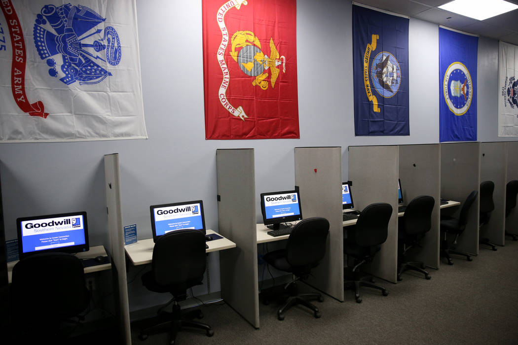 Goodwill's veteran career center at 741 S. Rainbow Dr. in Las Vegas, Friday, Nov. 16, 2018. The center, which opened on Wednesday inside the Goodwill store, offers veterans free occupational skill ...