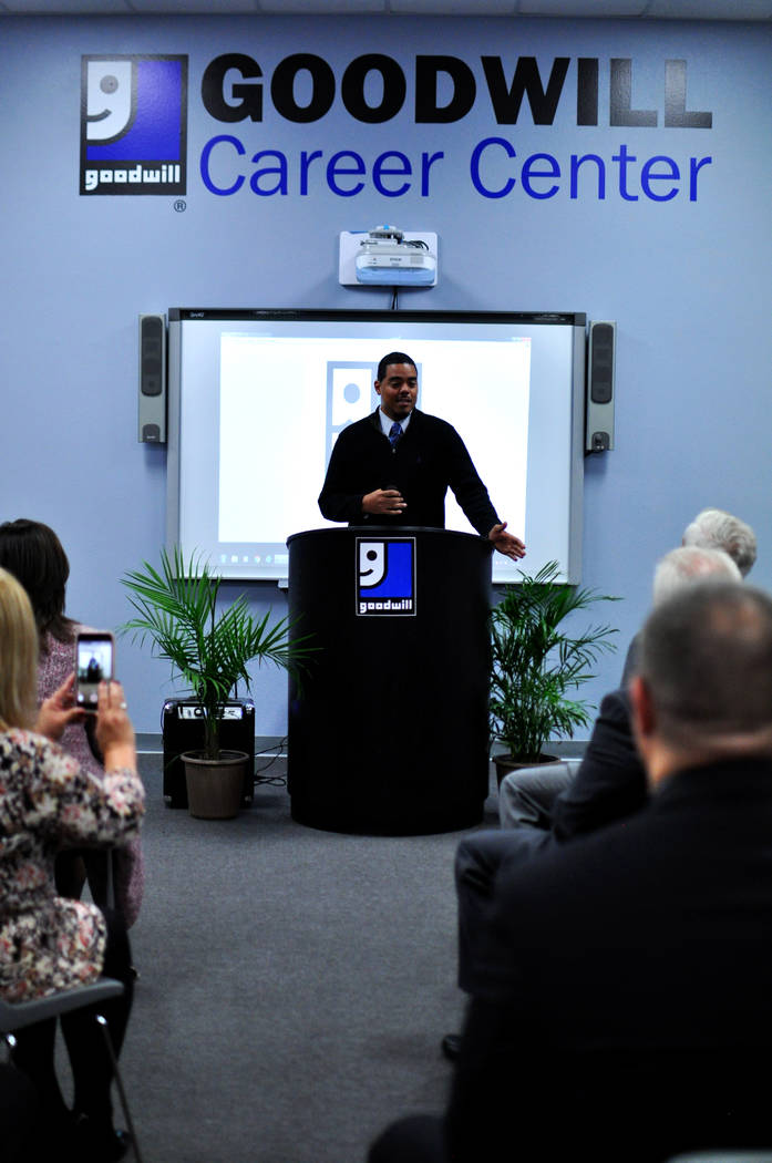 George Martin, 40, shares his personal story using the services provided by the Goodwill Veteran Integration Program on Wednesday, Nov. 14, 2018. Photo courtesy of Goodwill of Southern Nevada.