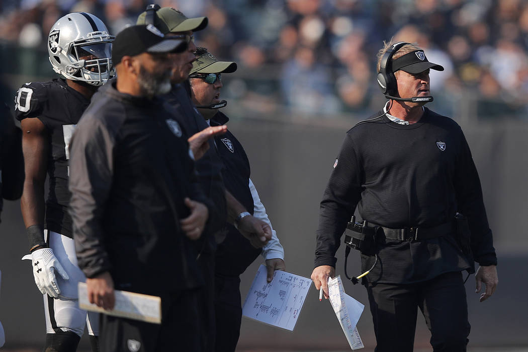 Oakland Raiders head coach Jon Gruden, right, watches from the sideline during the first half of an NFL football game against the Los Angeles Chargers in Oakland, Calif., Sunday, Nov. 11, 2018. (A ...