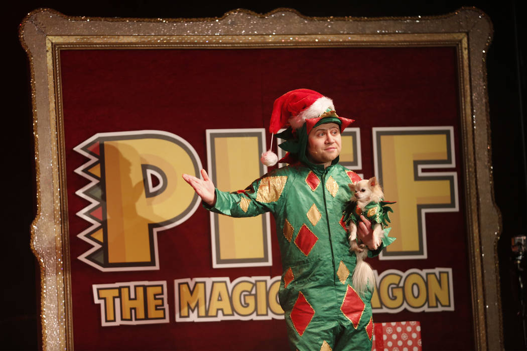 Piff performs with Chihuahua Mr. Piffles during his show at Flamingo hotel-casino in Las Vegas, Monday, Dec. 12, 2016. (Chitose Suzuki/Las Vegas Review-Journal) Follow @chitosephoto