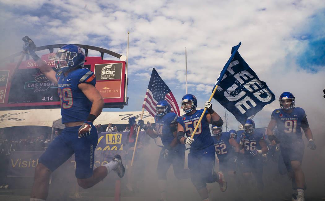 Boise State players enter the field before taking on Oregon in the Las Vegas Bowl at Sam Boyd Stadium in Las Vegas on Saturday, Dec. 16, 2017. Chase Stevens Las Vegas Review-Journal @csstevensphoto