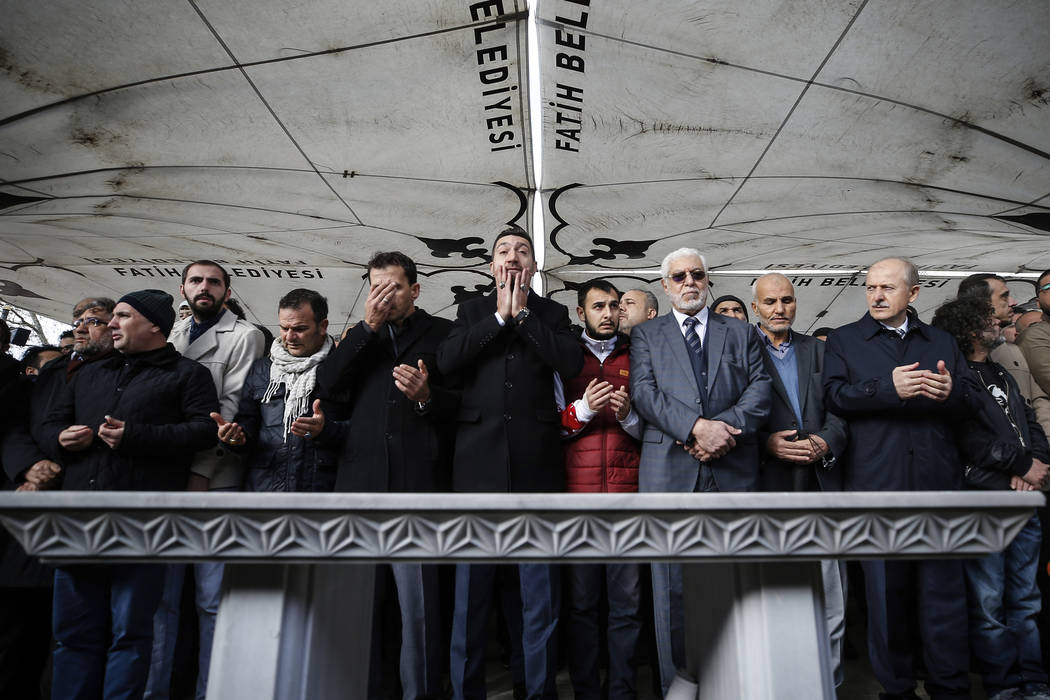 The members of Arab-Turkish Media Association and friends attend funeral prayers in absentia for Saudi writer Jamal Khashoggi who was killed last month in the Saudi Arabia consulate, in Istanbul, ...
