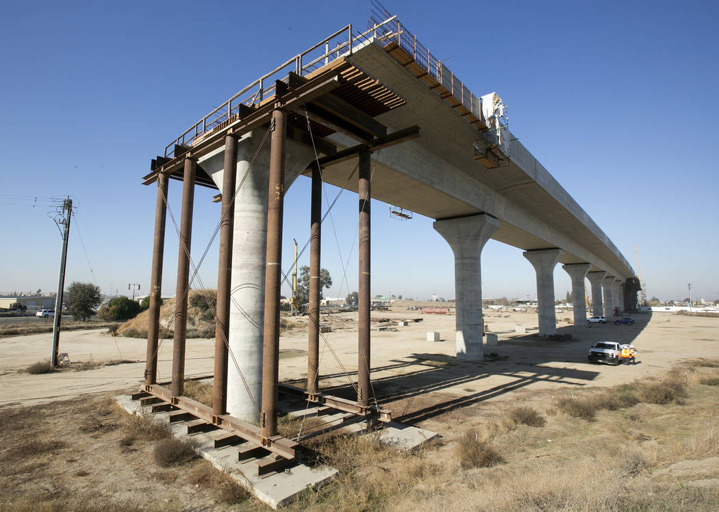 This Dec. 6, 2017, photo shows one of the elevated sections of the high-speed rail under construction in Fresno, Calif. (AP Photo/Rich Pedroncelli)
