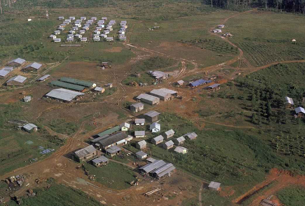 This November 1978 file photo shows the Peoples Temple compound, led by Jim Jones, after bodies were removed, in Jonestown, Guyana. (AP Photo/File)