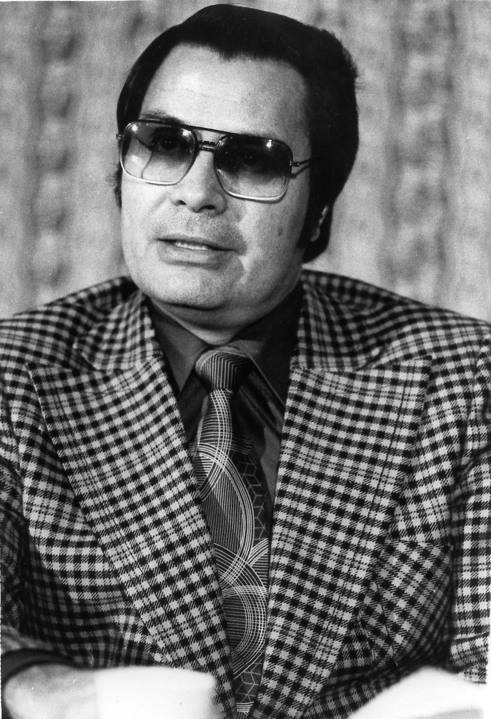 This Jan. 1976 photo shows the Rev. Jim Jones, pastor of Peoples Temple in San Francisco. (AP Photo/File)