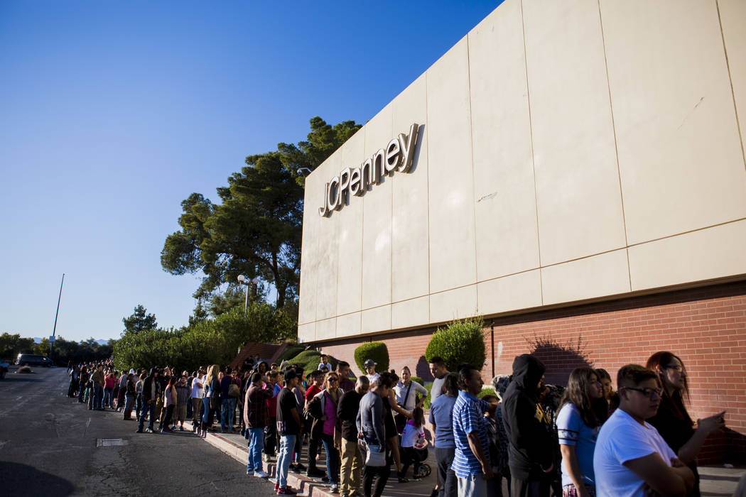 Customers line up on the sidewalk outside of the JCPenney located in the Meadows Mall waiting for the Black Friday sales to begin, in this 2016 file photo. Elizabeth Page Brumley/Las Vegas Review- ...