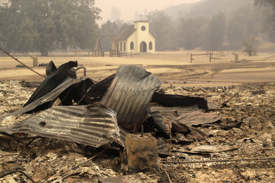 This Friday, Nov. 9, 2018 file photo shows Paramount Ranch, a frontier western town built as a movie set that appeared in countless movies and TV shows, after it was decimated by the Woolsey fire ...
