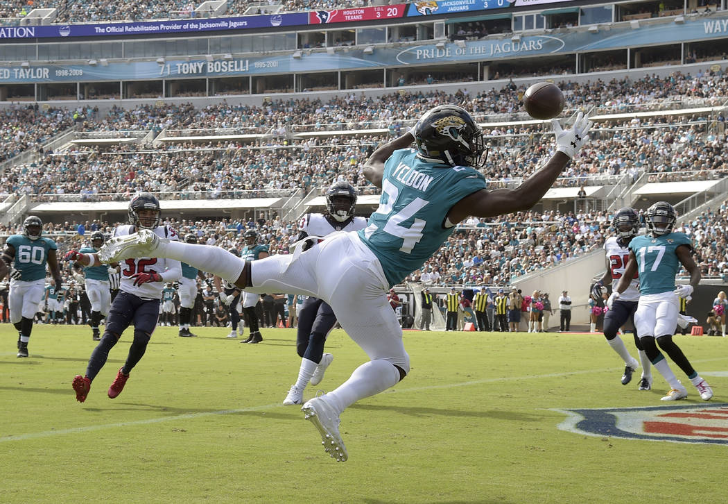 Jacksonville Jaguars running back T.J. Yeldon (24) catches a 6-yard touchdown pass from quarterback Cody Kessler against the Houston Texans during the second half of an NFL football game, Sunday, ...