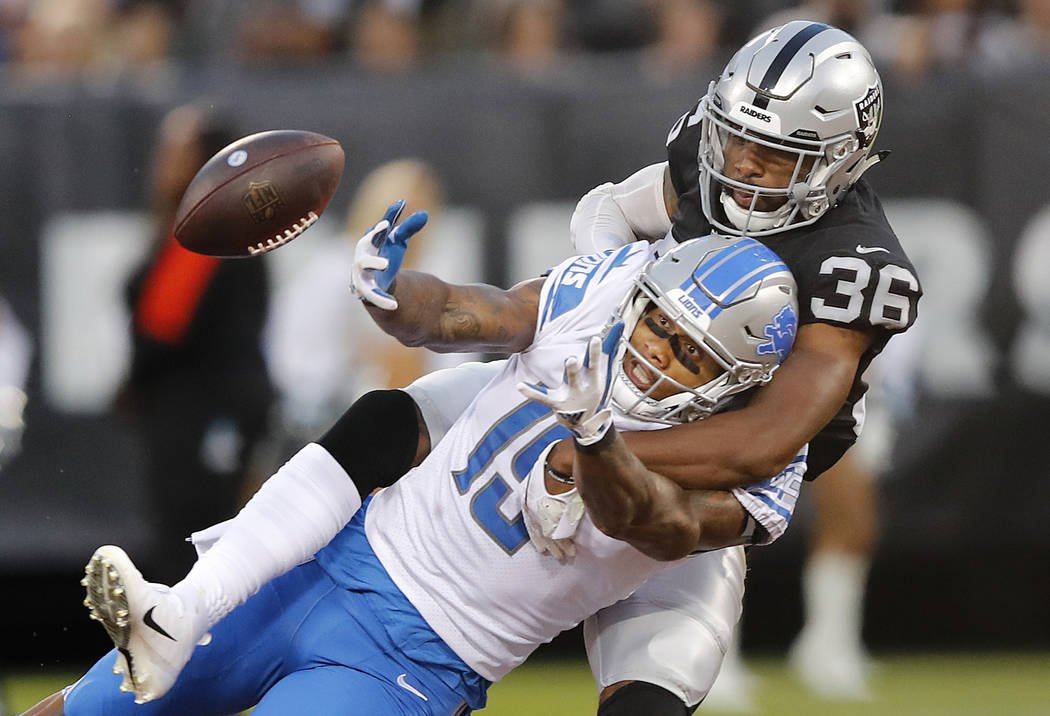 Oakland Raiders cornerback Daryl Worley (36) breaks up a pass intended for Detroit Lions wide receiver Kenny Golladay during the first half of an NFL preseason football game in Oakland, Calif., Fr ...