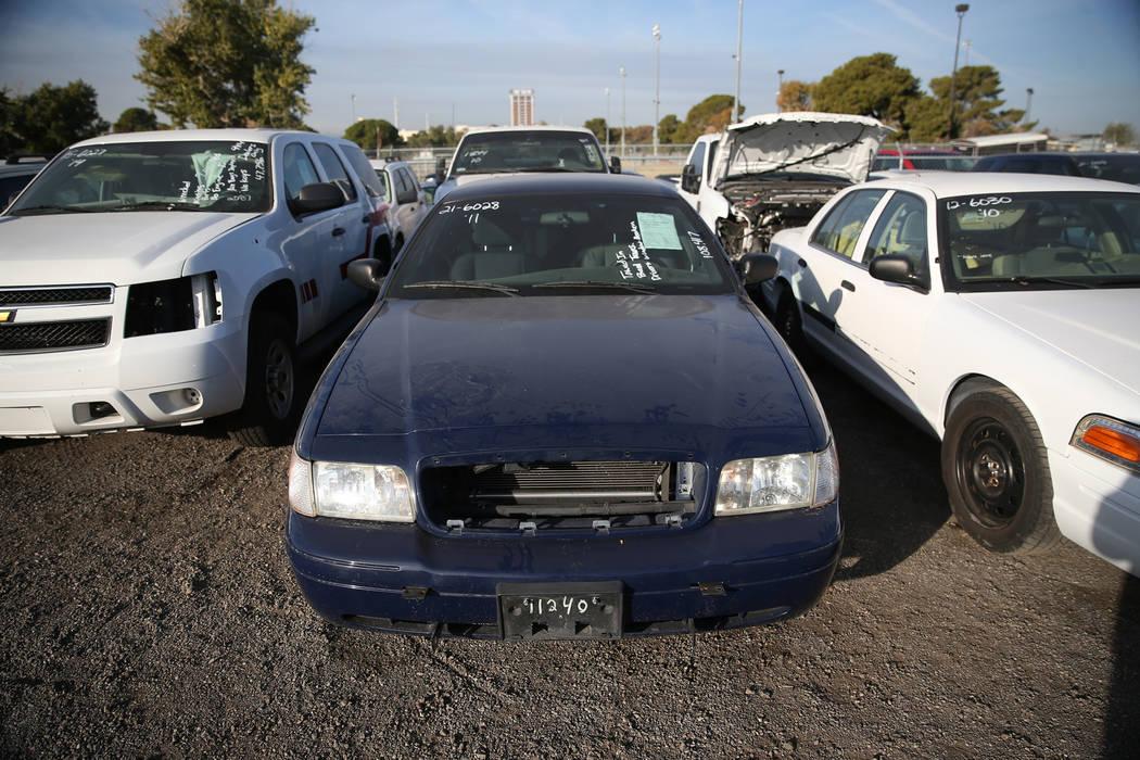 Vehicles for auction at Clark County's fall government auction at the TNT Auction lot in Las Vegas, Saturday, Nov. 17, 2018. Erik Verduzco Las Vegas Review-Journal @Erik_Verduzco