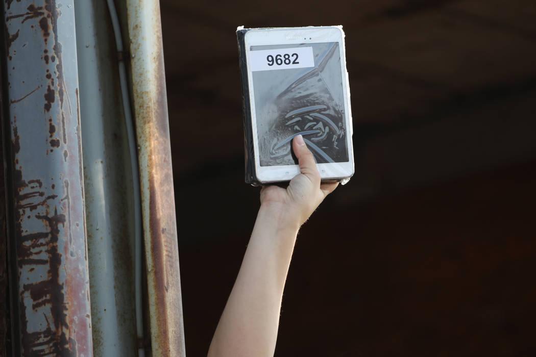 An electronic tablet for auction at Clark County's fall government auction at the TNT Auction lot in Las Vegas, Saturday, Nov. 17, 2018. Erik Verduzco Las Vegas Review-Journal @Erik_Verduzco