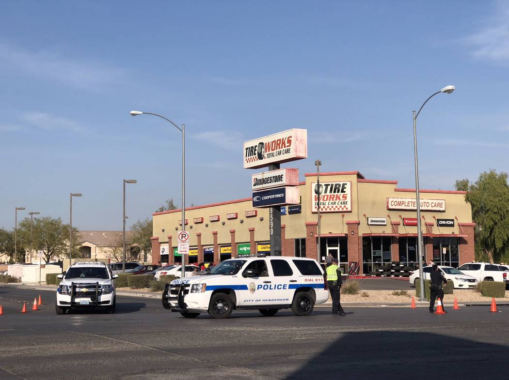 A large police presence is at the 9500 block of Tropicana Avenue, near Fort Apache Road. Rio Lacanlale/Las Vegas Review-Journal